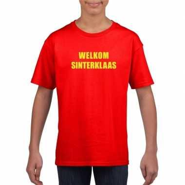 Sinterklaas t-shirt welkom sinterklaas voor kinderen rood