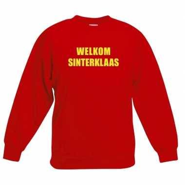 Sinterklaas trui / sweater rood voor kinderen welkom sinterklaas