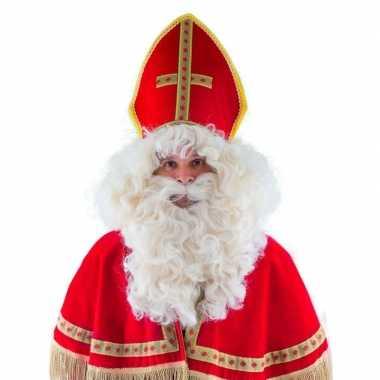Sinterklaas verkleed pruik met baard en snor
