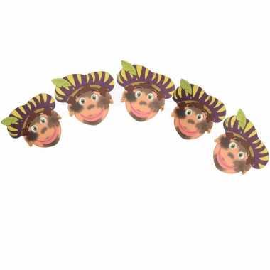 Sinterklaas versiering pieten slinger met paarse baretten