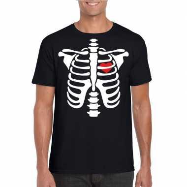 Skelet halloween t-shirt zwart voor heren