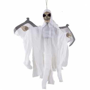 Skelet pop wit met beweging licht en geluid 65 cm