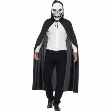 Skelet verkleedkleding cape met masker