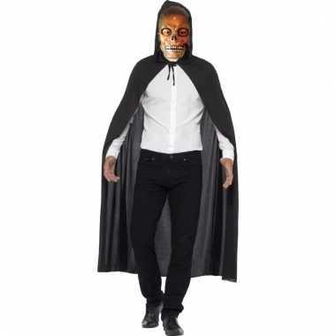 Skelet verkleedkleding cape met transparant masker