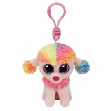 Sleutelhanger hond/poedel rainbow ty beanie 12 cm