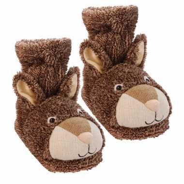 Slofsokken konijn bruin voor volwassenen
