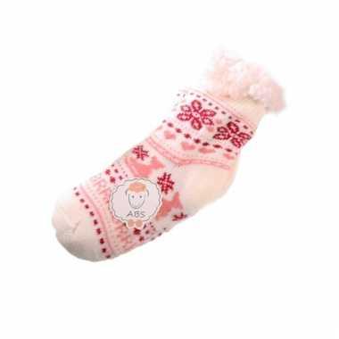 Slofsokken voor kinderen wit/roze