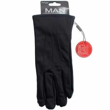 Smartphone handschoenen zwart imitatieleer voor heren