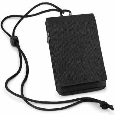 Smartphone opbergtasje zwart met halskoord