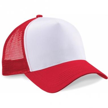 Snapback truckerpet rood/wit