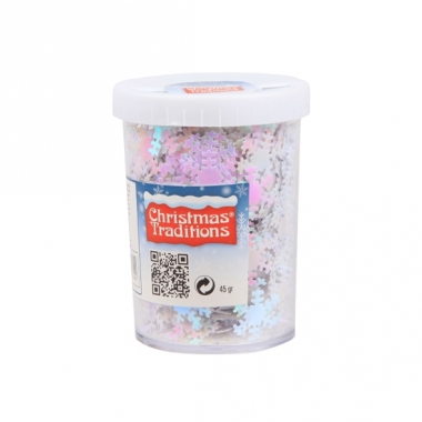Sneeuwvlokken confetti roze/wit