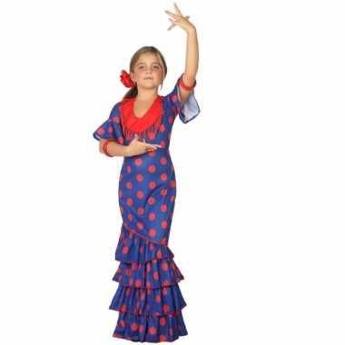 Spaanse verkleedjurk blauw met rood