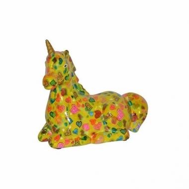 Spaarpot eenhoorn geel met hartjes print 17 cm