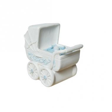 Spaarvarken blauwe kinderwagen