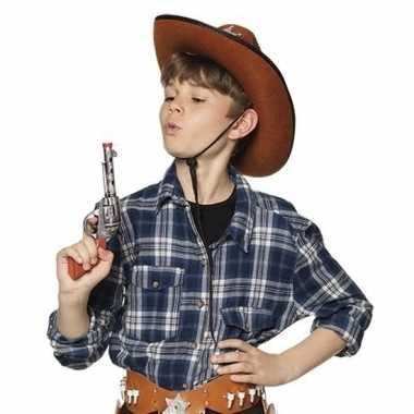 Speel cowboy/sheriff revolver/pistool zilver 20 cm western thema