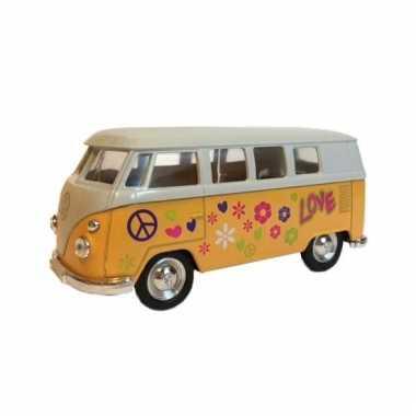 Speelauto volkswagen hippiebusje print geel 15 cm