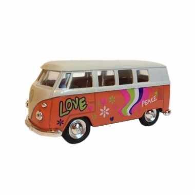 Speelauto volkswagen hippiebusje print oranje 15 cm