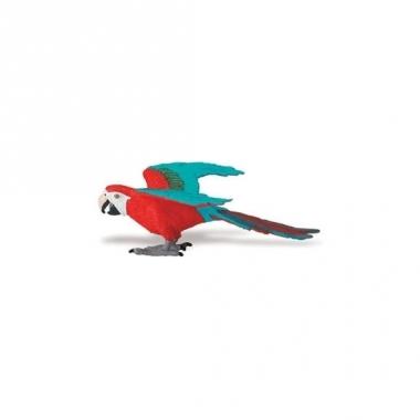 Speeldier rood/blauwe ara papegaai 10 cm