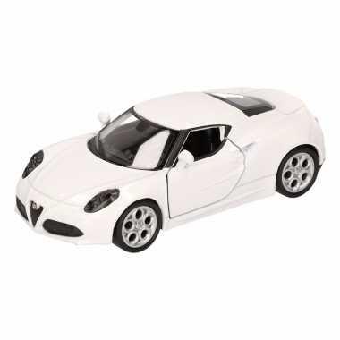 Speelgoed alfa romeo 4c 2013 wit welly autootje 16 cm