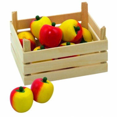 Speelgoed appels in kist