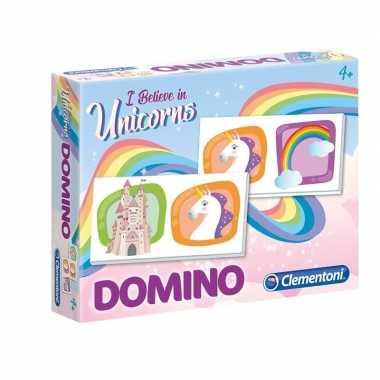 Speelgoed domino spel met eenhoorns