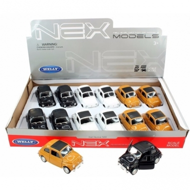 Speelgoed fiat 500 classic zwart welly autootje 10,5 cm