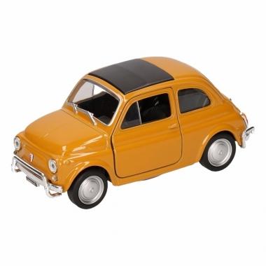 Speelgoed fiat nuova 500 donkergeel welly autootje 10,5 cm
