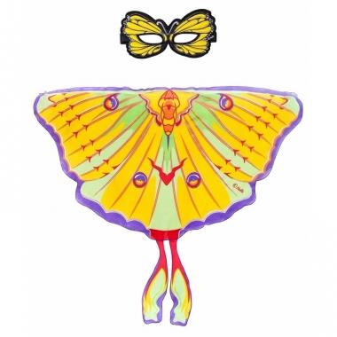 Speelgoed gele komeetstaart vlinder verkleedset