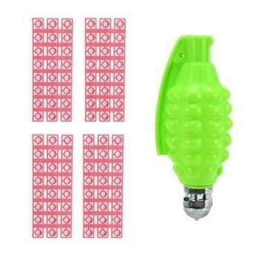 Speelgoed handgranaat met klappertjes met 96 schoten groen 14 cm