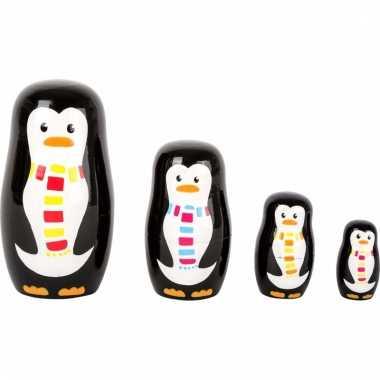 Speelgoed houten pinguins baboesjka set