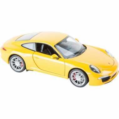 Speelgoed modelauto porsche 911 carrera geel s8591