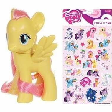 Speelgoed my little pony plastic figuur fluttershy met stickers/stick