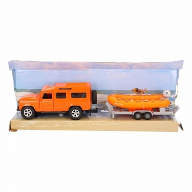 Speelgoed oranje auto land rover met reddingsboot