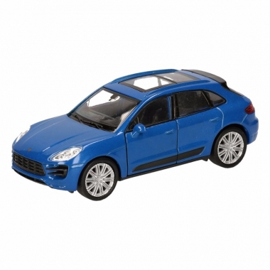 Speelgoed porsche macan turbo blauw autootje 12 cm