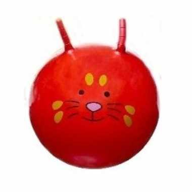Speelgoed skippybal met dieren gezicht rood 46 cm