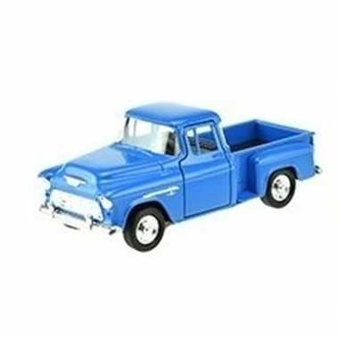Speelgoedauto chevrolet 1955 stepside blauw 1:34