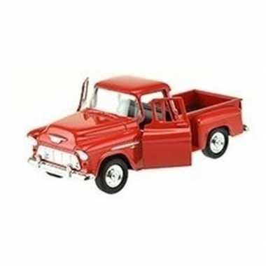 Speelgoedauto chevrolet 1955 stepside rood 1:34