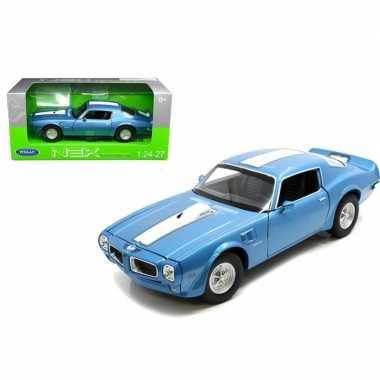 Speelgoedauto pontiac firebird trans am 1972 blauw/wit