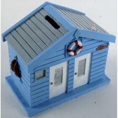 Strandhuis spaarpot blauw 13 cm
