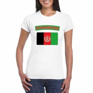 T-shirt afghaanse vlag wit dames