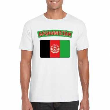 T-shirt afghaanse vlag wit heren