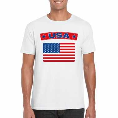 T-shirt amerikaanse vlag wit heren