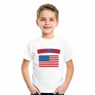 T-shirt amerikaanse vlag wit kinderen