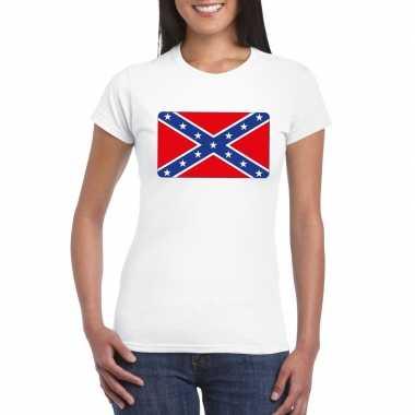 T-shirt amerikaanse zuidelijke staten/ rebel vlag wit dames