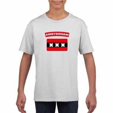 T-shirt amsterdamse vlag wit kinderen