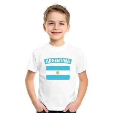 T-shirt argentijnse vlag wit kinderen