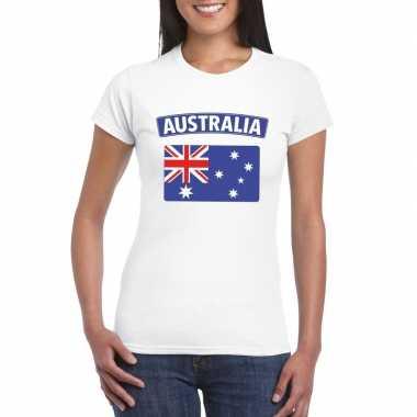 T-shirt australische vlag wit dames