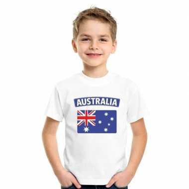 T-shirt australische vlag wit kinderen