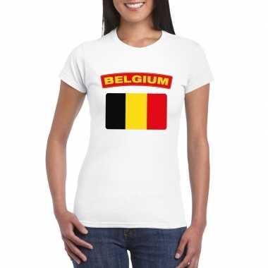 T-shirt belgische vlag wit dames