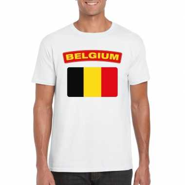 T-shirt belgische vlag wit heren